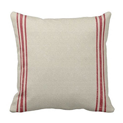 18x18inch Pillow Cases Standard Size, Red Striped Grain Sack Inspired Cotton Polyester Square Throw Pillow Case Decorative Cushion Cover Pillowcase Pillowslip for Sofa,Bed