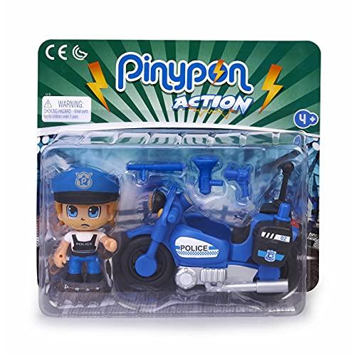 Pinypon Action - Moto de policía con 1 Figura, para niños y niñas a Partir de 4 a 8 años, (Famosa 700015694)