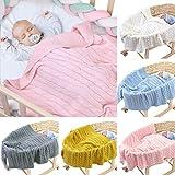 Tianhaik Baby-Decke, weich, warm, kuschelig, gestrickt, gehäkelt, für Kleinkinder, Neugeborene, Babydecke für Wiege, Kinderwagen, Reisen, Outdoor, Autositzdecke, Haustierdecke, 101,6 x 80 cm
