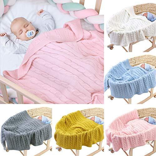 Ruiqas bebé niños niña Manta de Color Puro recién Nacido niño Manta Swaddle Tejer Crochet Manta Manta Infantil pañales 100cm x 80cm-Rosa Claro