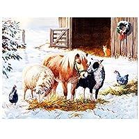 油絵 数字キットによる絵画 塗り絵 大人 手塗 馬と羊の動物 DIY絵 デジタル油絵 -40x50cm (フレームレス)