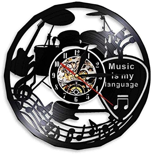 WJUNM Reloj de Pared de Vinilo La música es mi Idioma Música Cita inspiradora Reloj de Pared Teatro Musical Guitarra Tambores Disco de Vinilo Reloj de Pared con LED