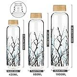 FCSDETAIL Sport Borosilikat Trinkflasche Glas Wasserflasche mit Neopren-Hülle mit Bambusdeckel 420 ml / 660 ml /1000 ml - 2