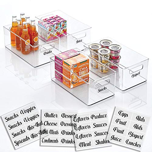 mDesign Plastic Kitchen Storage Organizer Container Bin with Identification Labels Handles for Pantry Cabinets Shelves Refrigerator Freezer Set of 4 Bins plus Labels - Clear