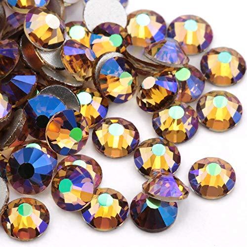 SS10-1440 piezas de diamantes de imitación de color morado brillante con parte trasera plana de cristal para pegar en piedras de imitación para planchar