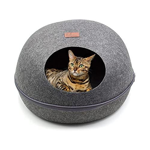 Luxflair Stabile cuccia ovale per gatti in morbido feltro di colore grigio scuro, naturalmente lavabile, moderna cuccia per gatti e cani di piccola taglia