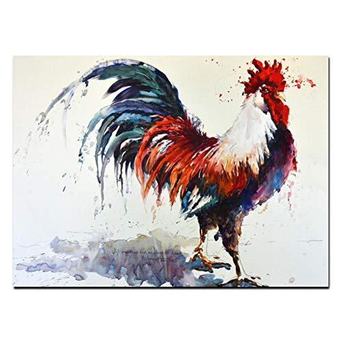 Zhaoyangeng Hd Print Abstract Haan Aquarel Canvas Schilderen Muur Beeld Dier Kunst Moderne Huisdecoratie voor Woonkamer- 60X80Cm Unframed