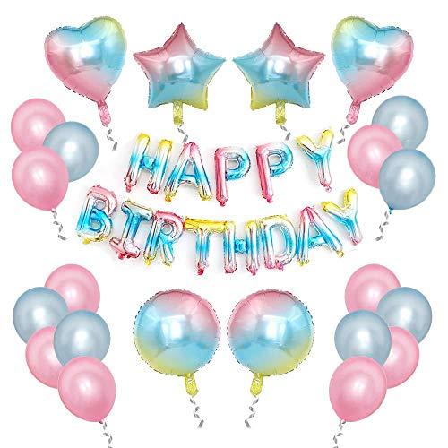 Geburtstag Dekoration Set Regenbogen Farbe, Happy Birthday Banner Girlande Folienballon Konfetti Luftballons Herz Stern Folienballon für Mädchen und Jungen