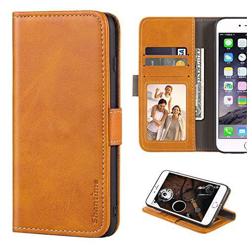 Leagoo Z6 Hülle, Leder Brieftasche Hülle mit Bargeld und Kartenfächern Weiche TPU Backcover Magnet Flip Hülle für Leagoo Z6, gelb