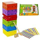 Juego Torre Bloques Infantil Madera de Colores con Numeros en Ingles ,Incluye 3 Sticks de Recambio para Numerar Las Piezas.