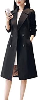 Women's Regular-Fit Notched Lapel Double Breasted Trench Coat Jacket with Belt