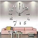 Gearmax® DIY Reloj de Pared extraíble Creativo de Vidrio acrílico del Efecto de Espejo para la decoración del hogar(Plateado)