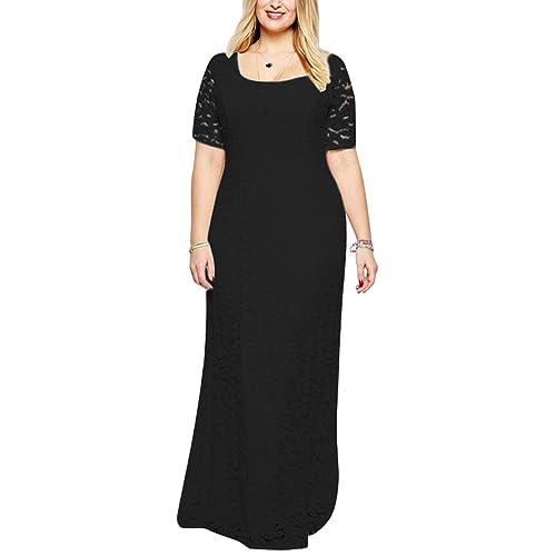 55d8eb9c9ec Nemidor Women s Full Lace Plus Size Wedding Maxi Dress
