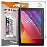REY 2X Protector de Pantalla para ASUS ZENPAD 10' / 10.1' Z300C - Z330C, Cristal Vidrio Templado Premium, Táblet