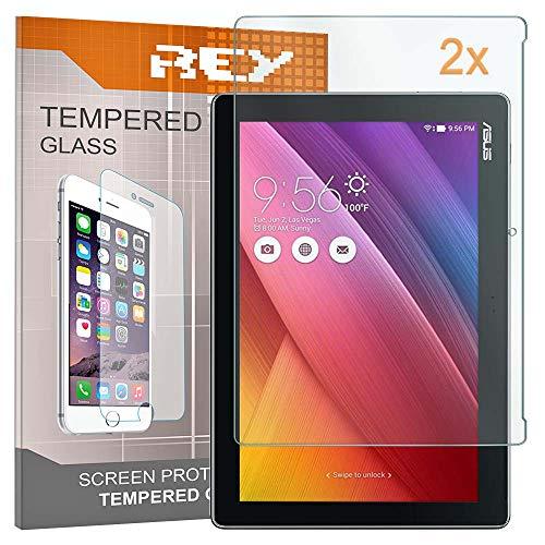 """REY 2X Protector de Pantalla para ASUS ZENPAD 10"""" / 10.1"""" Z300C - Z330C, Cristal Vidrio Templado Premium, Táblet"""