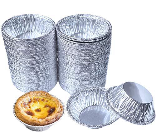 SPWOLFRT Disposable Aluminum Foil Mini Tart/Pie Pans, Egg Tart Pan Small Cupcake Cake Cookie Mold Tin Baking Tool Baking Cups, Pack of 100 (A)
