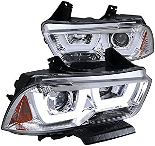 Spec-D Tuning 2LHP-CHG11-TM Dodge Charger Euro Chrome Dual Halo LED DRL Projector Headlights Pair - coolthings.us