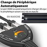 Fosmon Commutateur HDMI Automatique 4K 3-Port, 3x1 Switch HDMI Auto Switcher Répartiteur UHD HDR 3D Full 1080p HDCP, 3 Entrées 1 Sortie HDMI Splitter Sélecteur avec Câble pour PS4 Xbox Roku Apple TV