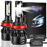 LTPAG Bombilla H11 LED Coche, 2pcs 72 W 12000LM H8 LED Faros Delanteros Bombillas LED H8 H9 H11 Lámparas para Coches, Reemplazo de Luz Halógena y Faros de Xenón, Blanco 6000K, Garantía de 2 años