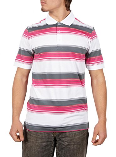 adidas Golf Men's Puremotion Merch Stripe Polo, White/Bahia Magenta/Lead/Bahia Glow, X-Large