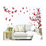VAGA Stylish Adhesive Rooms Walls Vinyl DIY Stickers/Murals/Decals/Tattoos/Transfers with Red Japanese Cherry Blossoms Tree/Branch and Butterflies Designs
