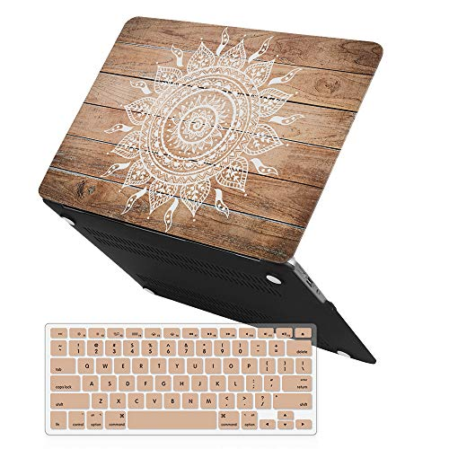iCasso, cubierta de goma, con revestimiento de goma, cubierta suave, cubierta de teclado para MacBook Air, 13 pulgadas (modelo A1369/A1466) (Mandala de madera clara)