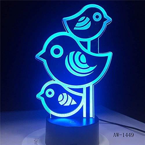 Lumière fantôme 3D , Led de sommeil de bébé nuit Cartoon Home Décor éclairage 7 couleurs changeantes Three Little Birds-Touch Light Fixture Veilleuse LED pour enfants (Color : Touch)