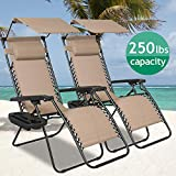 Zero Gravity Chair Patio Lounge Chair Chaise 2 Pack Outdoor Folding Adjustable Heavy Duty Recliner Chairs with Cup Holder and Pillows Hold Up to 250Lbs for Patio, Pool, Beach, Lawn, Yard - Tan