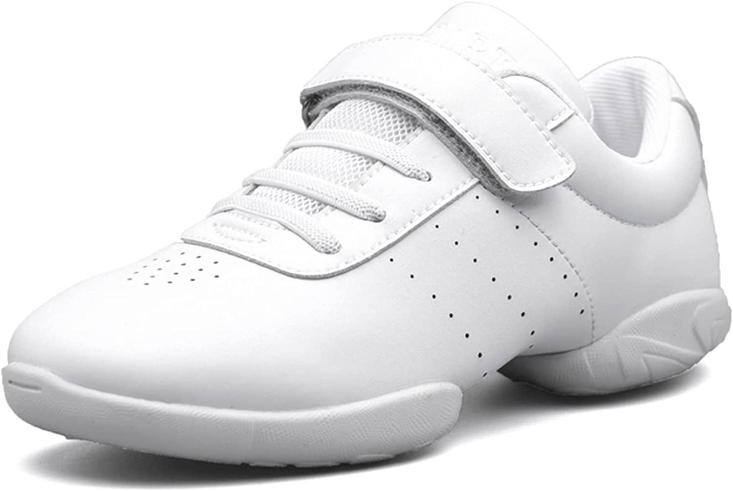 BAXINIER Girls White Cheerleading Dance Shoes Athletic Training Tennis Breathable Youth Competition Cheer Sneakers