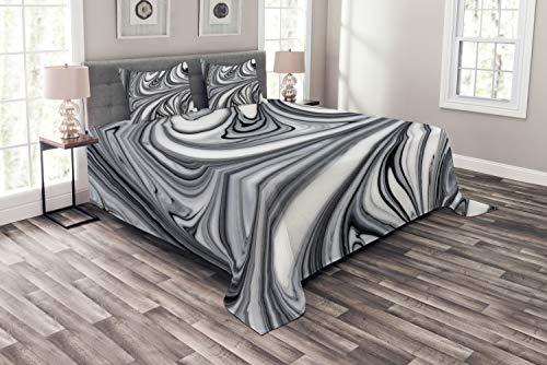 ABAKUHAUS Abstrakt Tagesdecke Set, Schwarz-weiße surreale Kunst, Set mit Kissenbezügen Klare Farben, für Doppelbetten 220 x 220 cm, Weiß Schwarz