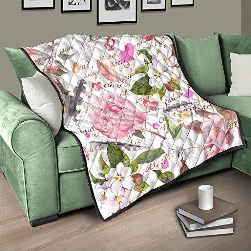 AXGM - Copriletto trapuntato per San Valentino, motivo floreale, 100 x 150 cm, colore: Bianco