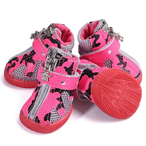 nikka(日華)犬靴 犬の靴 厚底 履かせやすい マジックテープ シューズ ブーツ 4個入り ピンク 5号サイズ