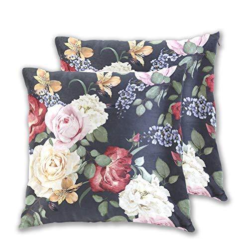 Emoya Juego de 2 fundas de almohada decorativas cuadradas de acuarela, fundas de almohada para sofá o dormitorio, 50 x 50 cm