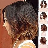 Natural Wave Cheveux synthétiques Perruque lace front pour femme Bob courte...