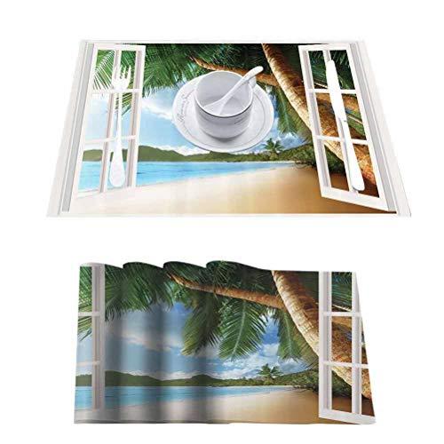 L'sWOW Manteles individuales de lino impermeable con diseño de cenador, cortinas personalizadas, ventana de madera, para uso diario en interiores y exteriores, para ocasiones especiales, juego de 10