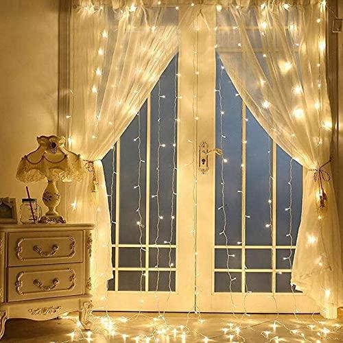 XIAOQIAO Luci di Natale Cascata 3mx3m 320LED 220V. Tende a Cascata LED Christmas Light String String Wedding Holiday Lights Decorazione Ghirlanda GUIDATO Decorazioni della Stanza delle Fate