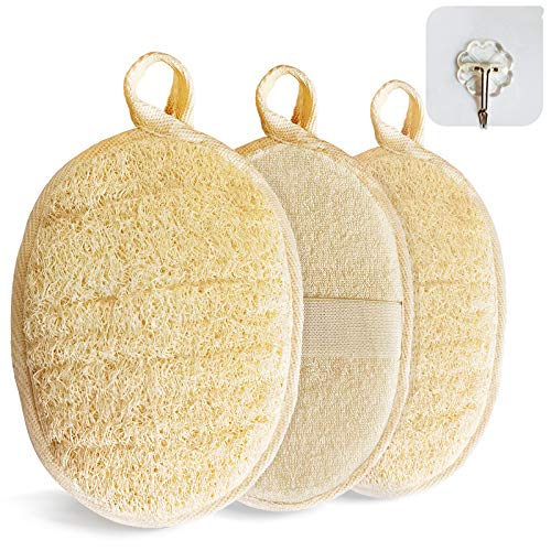 Natural Loofah Sponge Exfoliating3 packsMade with EcoFriendly and Biodegradable Shower Luffa Sponge Loofah for Women and Men Beige
