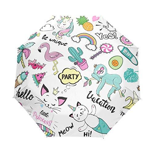 Jeansame Eenhoorn Kat Zeemeermin Cactus Zomer Flamingo Vouwen Compacte Paraplu Automatische Regen Paraplu's voor Vrouwen Mannen Kid Jongen Meisje