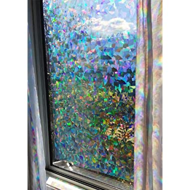 Decorative Window Film Holographic Prismatic Etched Glass Effect - Fill Your House with Rainbow Light 23  X 36  Panel - Crystal Pattern