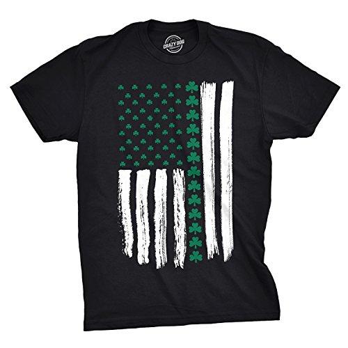 Crazy Dog T-Shirts Mens Shamrock USA Flag Tshirt Cute Irish American 4th of July Tee for Guys (Black) - 3XL
