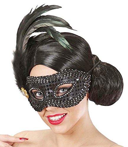 Das Kostümland Augenmaske Francesca mit Federn Schwarz - Wunderschönes Accessoire zum...