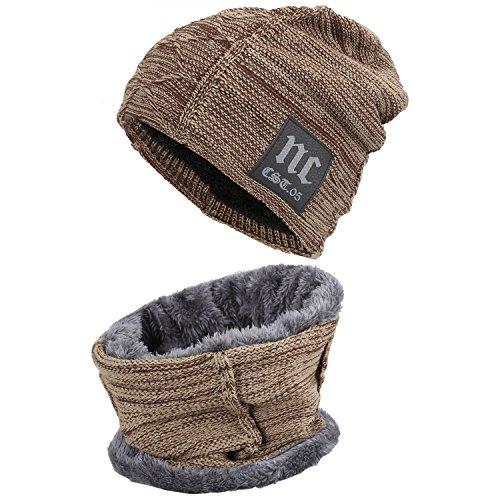 Fantastic Zone 2-Pieces Winter Beanie Hat Scarf Set Warm Knit Hat Thick Fleece Lined Winter Hat & Scarf For Men Women,Khaki,One Size