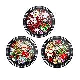 Minkissy 3 set decorazioni per unghie natalizie 3d nail art strass pupazzo di neve albero santa gioielli per unghie