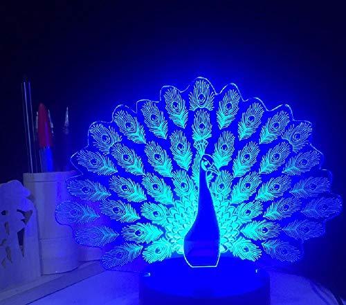 Peacock Spreads Tail Peafowl 3D LED nachtlampje meerdere kleuren wijzigen van de dier tafellamp Home Decor geschenken remote telefoon Bluetooth besturingskleur