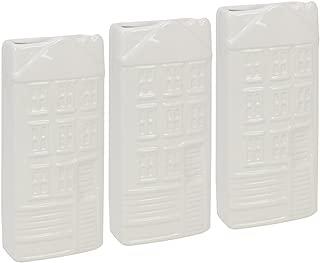 com-four® Evaporador de radiador 3X, humidificador de cerámica con Motivo de casa en Blanco (03 Piezas - casa)