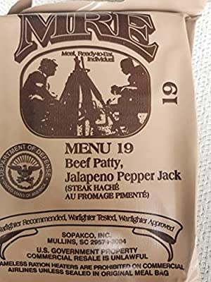 LoJo Surplus 2021 Genuine Military MRE Meals Ready to Eat with Inspection Date 2021 or Newer (Beef Patty, Jalapeno Pepper Jack)