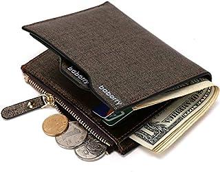 Men's Wallet Gold Sand Business Fashion With Zipper Bags Wallet LTJALQ (Color : Brown, Size : S)
