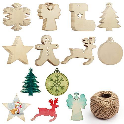 Adornos Madera Arbol Navidad (64 Piezas) - 8 Formas x 8 Piezas Decoración Árbol de Navidad de...