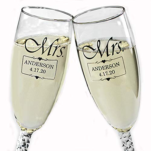 All Things Weddings Personalized MRS and MRS Same Sex Wedding Glass Champagne Toasting Flutes, Reception or Engagement, Black Engraved Customized for Lesbian Couple, Set of 2, Gift Box NOT included