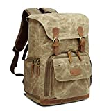Camera Backpack DSLR Backpack with Laptop Room / Tripod Holder Waterproof Anti-Shock Backpack Hiking for Canon Nikon Fuji and Other Cameras Laptop Ipad, Khaiki